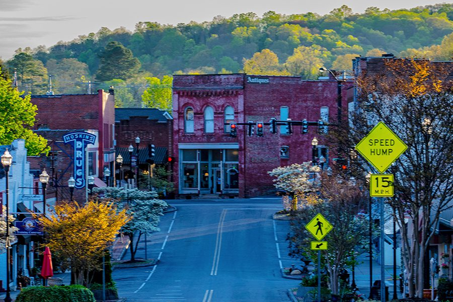 Gallatin, TN - View Down Main Street of Antique District in Tennessee