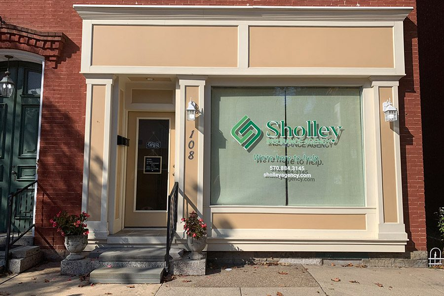 Selinsgrove, PA Insurance - Office Building with Sholley Insurance Agency on Window