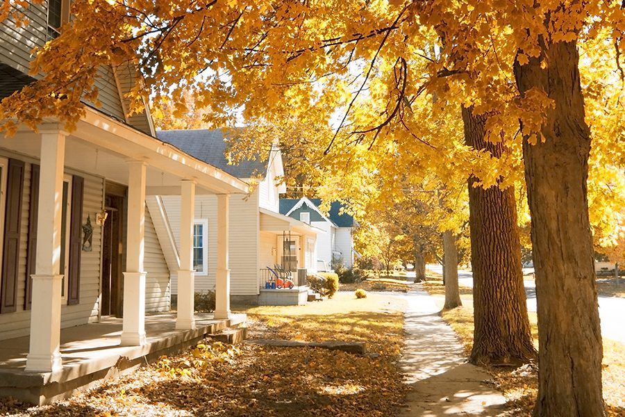 Contact - Closeup of Homes and Tree Lined Street in Small Town of Avon, Indiana in the Fall