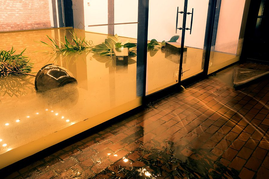 Commercial Flood Insurance - Water Flowing through Doors from a Flooded Office