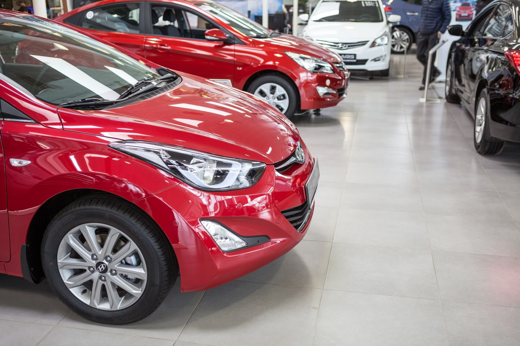 st. petersburg, russia - circa apr, 2015: the hyundai dealership showroom with entry models of vehicles. the rolf lahta is a official dealer of hyundai