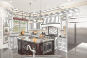 Combination of Beautiful Custom Kitchen Design Drawing with Ghosted Photo Behind.
