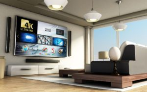 Big Screen, Big Escape 2021 Sweepstakes - Luxury Living Room With Large Flatscreen TV Mounted On The Wall