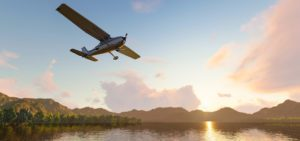 Aviation Insurance - Header - Plane Flying Over A Lake On A Beautiful Day