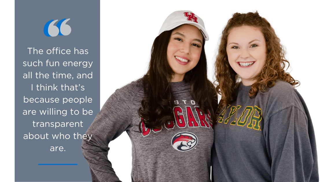 photo of two interns with a quote on the left-hand side
