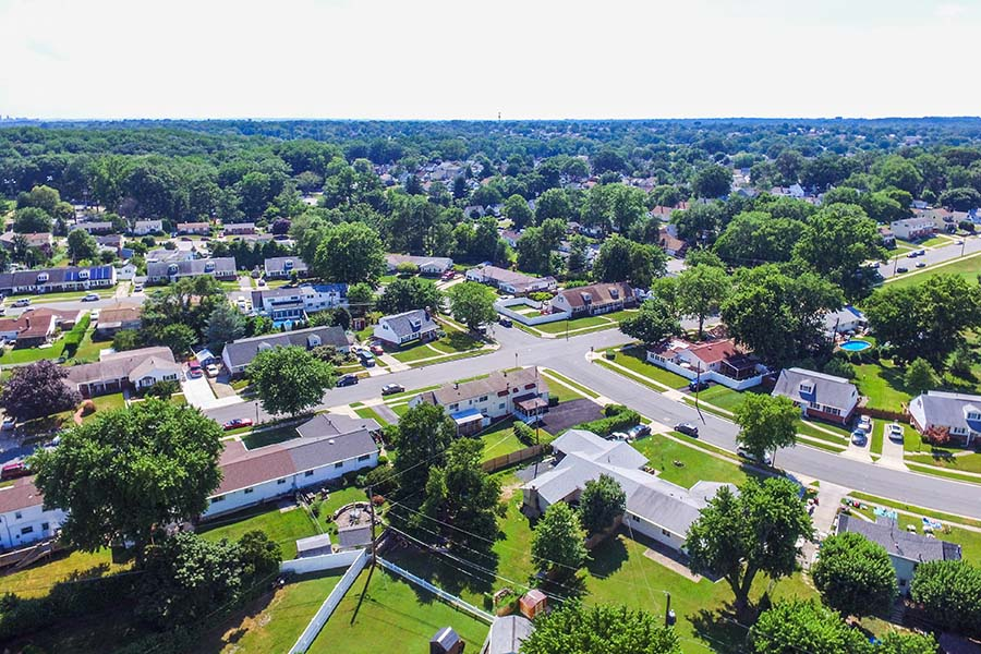 Lima OH - Aerial View of a Small Residential Neighborhood in Lima Ohio
