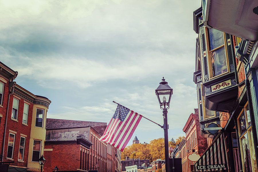 Medina OH - View Of Small Town Buildings And Flag