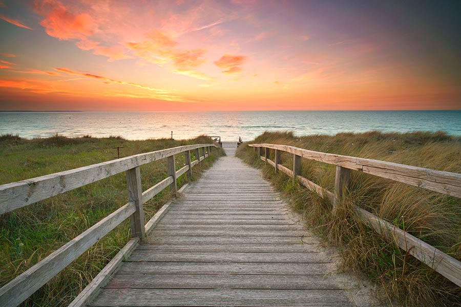 Client Center - Wooden Boardwalk Path Over Long Green Dunes Leading to a Blue Ocean With a Pink Sunrise