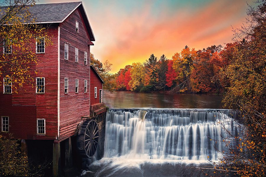 Wisconsin - Scenic View of River Mill in the Fall in Wisconsin