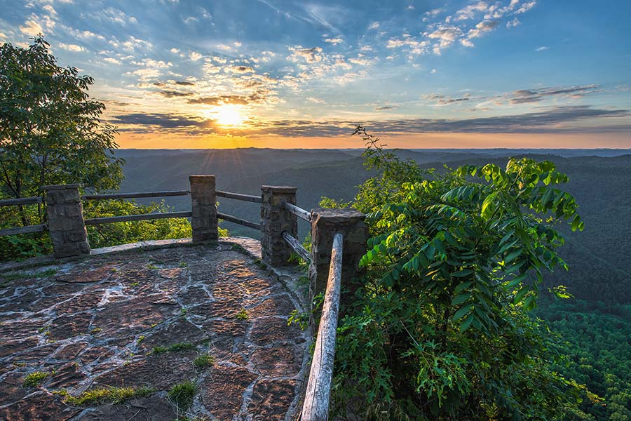 Harlan KY - View of Sun Setting Over Mountains from Look Out Point in Harlan Kentucky