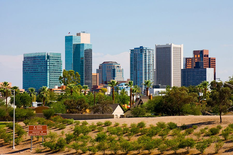 Phoenix AZ - City Skyline of Downtown Phoenix Arizona Against Clear Blue Sky