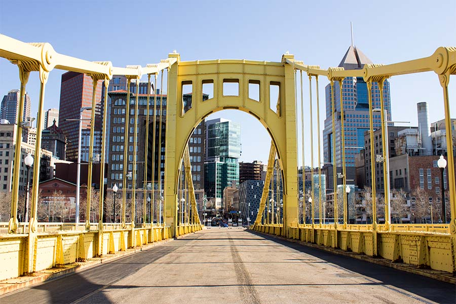 Contact - View of Yellow Bridge Leading to Downtown Pittsburgh Pennsylvania