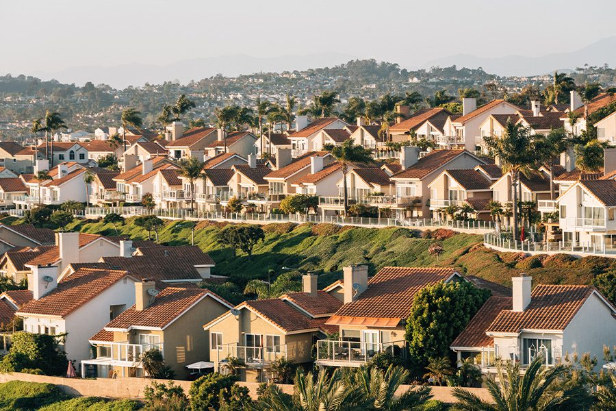 California - View of Houses and Hills from Suburb in Southern California