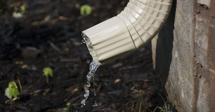 Downspout spilling out water