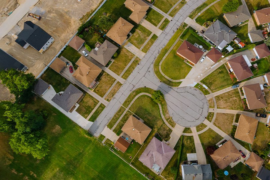 Erlanger, KY - Aerial Overview of Suburban Town in Kentucky