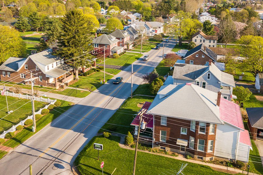 Meadville, PA - Aerial View of a Small Town Main Street in Pennsylvania