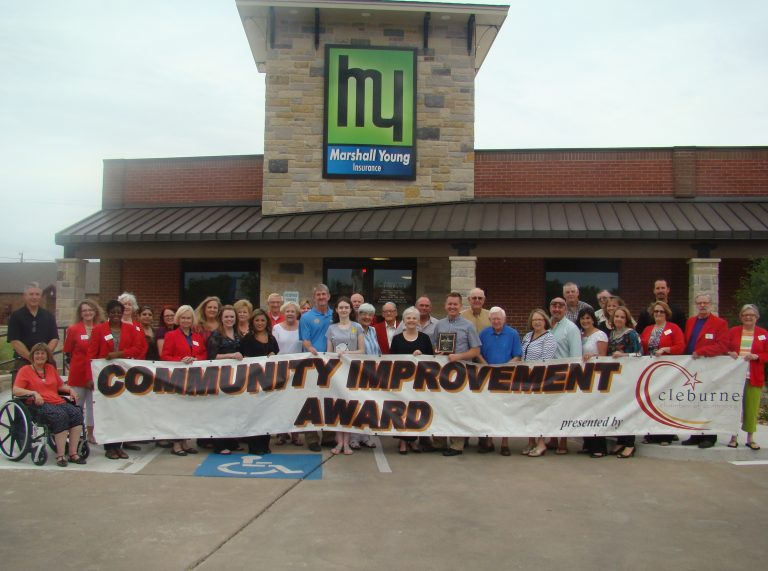 August 1, 2014- Cleburne Chamber of Commerce Awards Marshall Young Insurance with the Community Improvement Award
