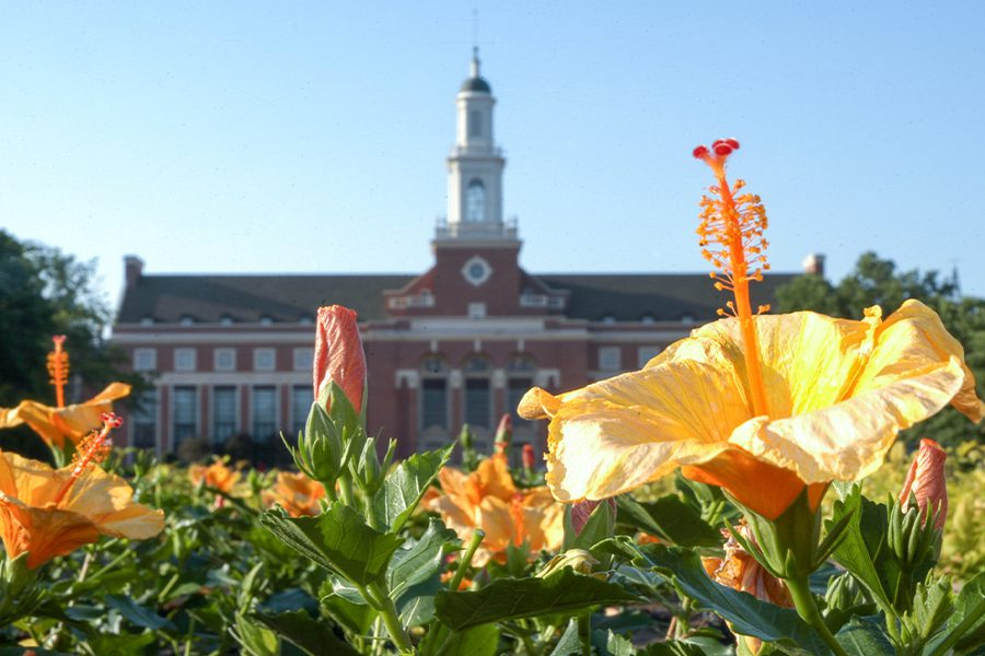 Stillwater, OK - Library at Oklahoma State University With Flowers in the Foreground on a Sunny Day