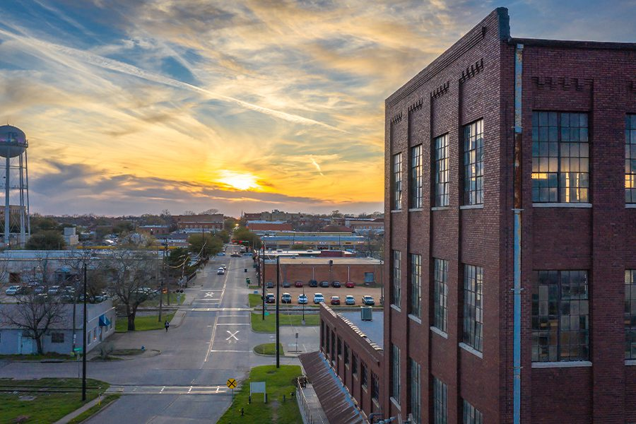 Texas - Downtown of Rural Town Cotton Mill at Sunset