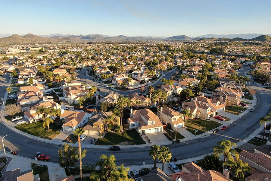 Woodcrest, CA - Aerial View of Suburban Community in Woodcrest in Riverside County California