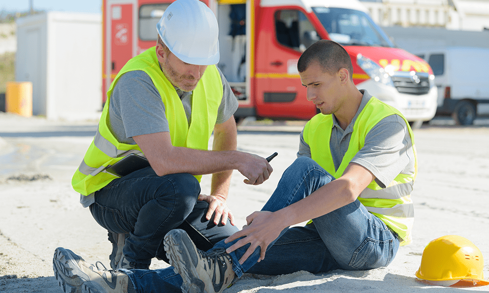 Practicing Slip and Fall Prevention - Construction Worker Hurt After Tripping and Falling