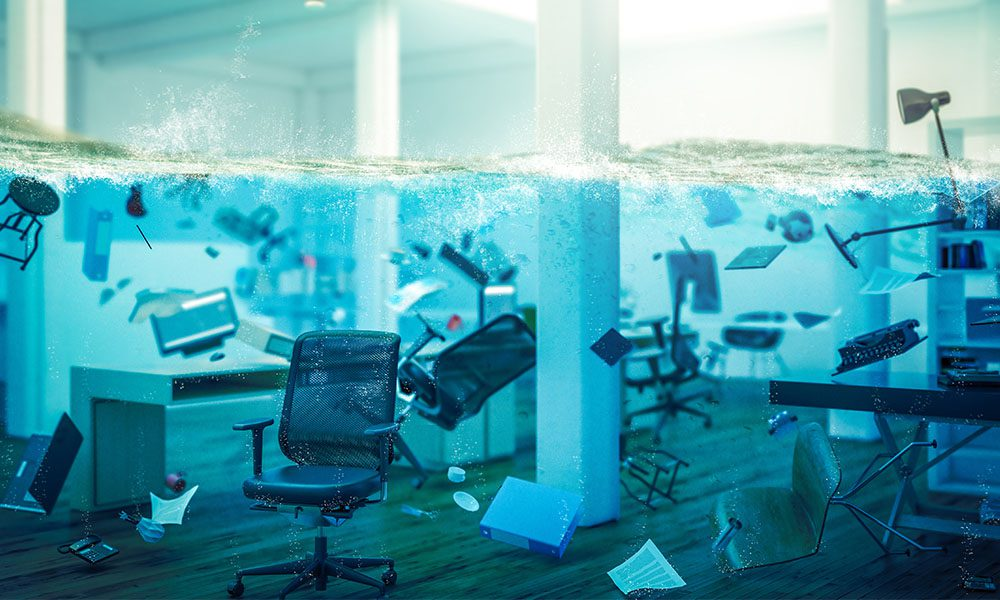 Blog - Office Room Flooding and Filling with Water While Office Items Float
