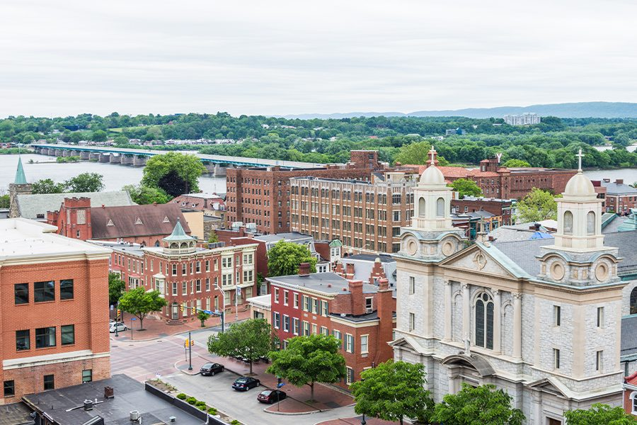 Contact - Aerial of Historic Downtown Harrisburg, Pennsylvania and Surrounding Areas next to the Capitol