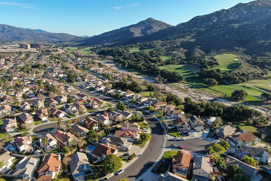 Contact - Aerial View of Residential Town on a Sunny Day in Anaheim Hills, California