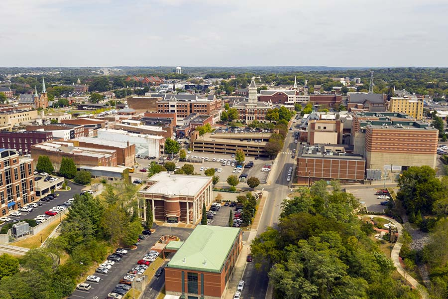 Kingsport TN - Aerial View Of Dowtown Kingsport Tennessee