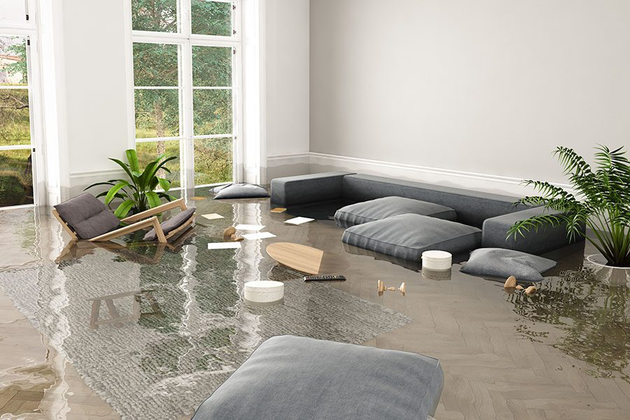 Flood Insurance Facts and FAQs - View of Flooded Living Room Interior
