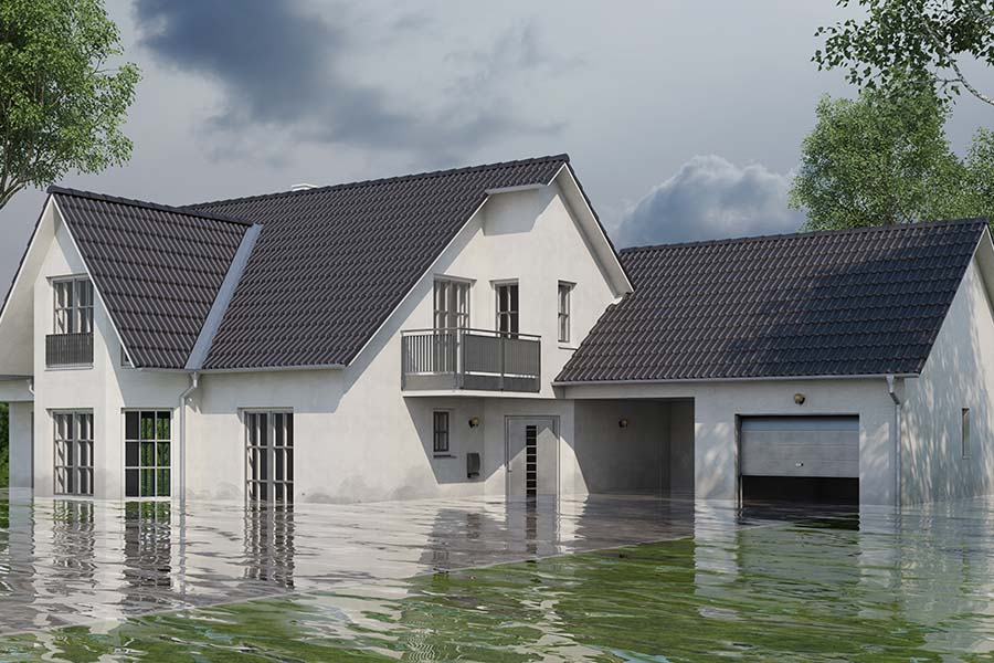 Flood Insurance - View of a Flooded Two Story Home