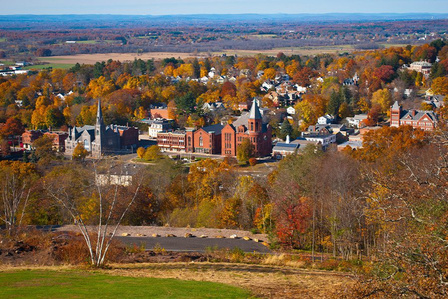 Avon, CT - Scenic Aerial View of Small Town in CT in the Fall
