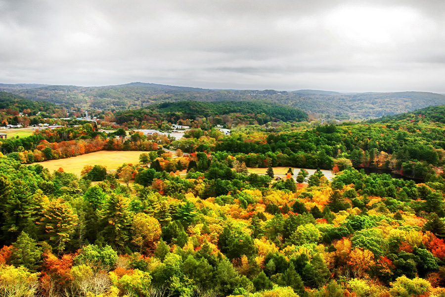 Contact - Aerial View of Trees and Small Town in Connecticut in Autumn