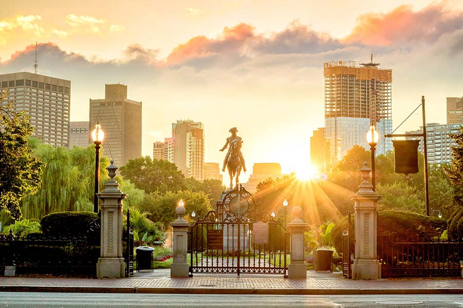 Client Center - Paul Revere Statue And Park In Boston Massachusetts At Sunset