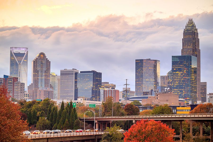 Charlotte NC - Skyline View Of Downtown Charlotte North Carolina In The Fall