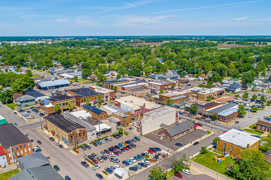 Findlay OH - Aerial View Of Small Town Findlay Ohio