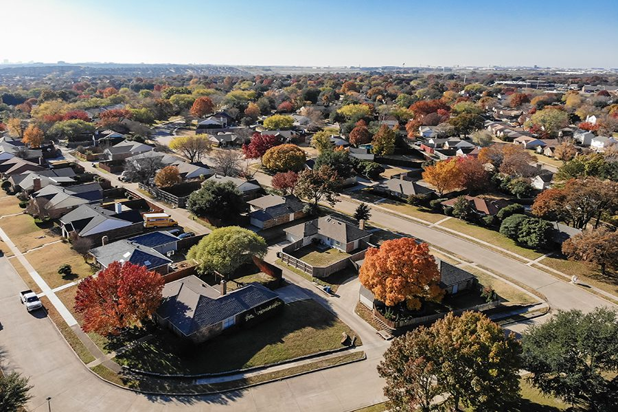 Texas Aerial View of Nice Suburban Town in the Fall