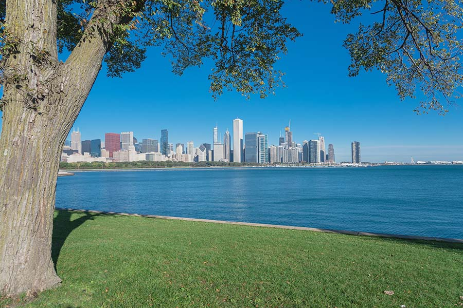 Oak Lawn IL - View Of Chicago Skyline From Park In Oak Lawn Illinois