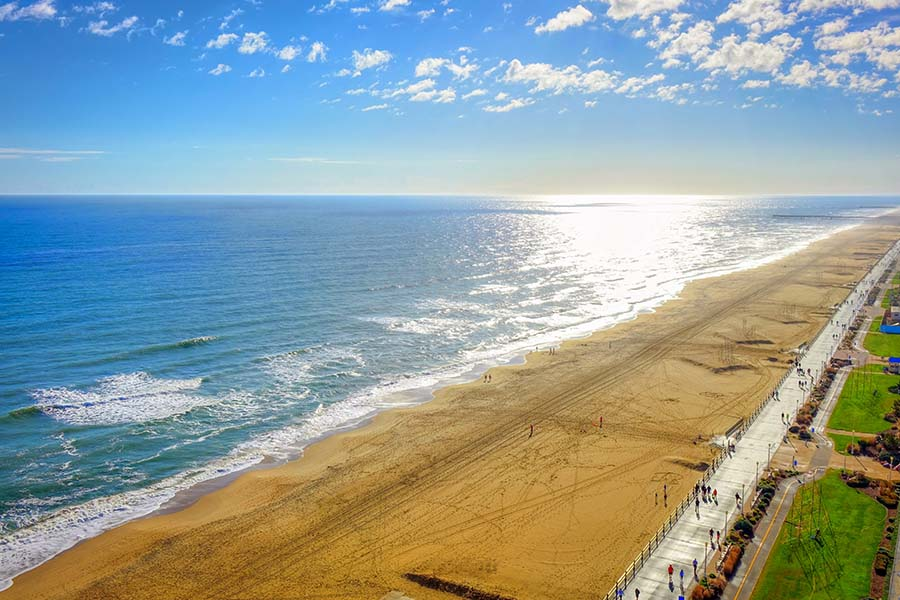 Blog - Aerial View of Virginia Beach During the Summer Time with Bright Blue Sky
