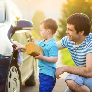 Father-and-Son-Washing-Car