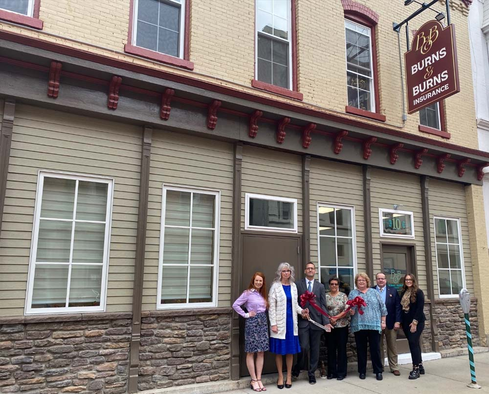 Blog - Burns and Burns Insurance Team Smiling and Standing Outside Office in Bradford PA