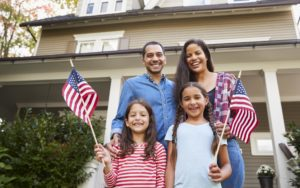 American Homepage Family with Flags