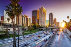 Los Angeles CA - Sunset View of Downtown LA Highway by Corporate Buildings