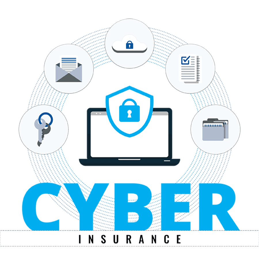 Compliance GPS - Cyber Insurance Graphic With Locked Down Protected Computer