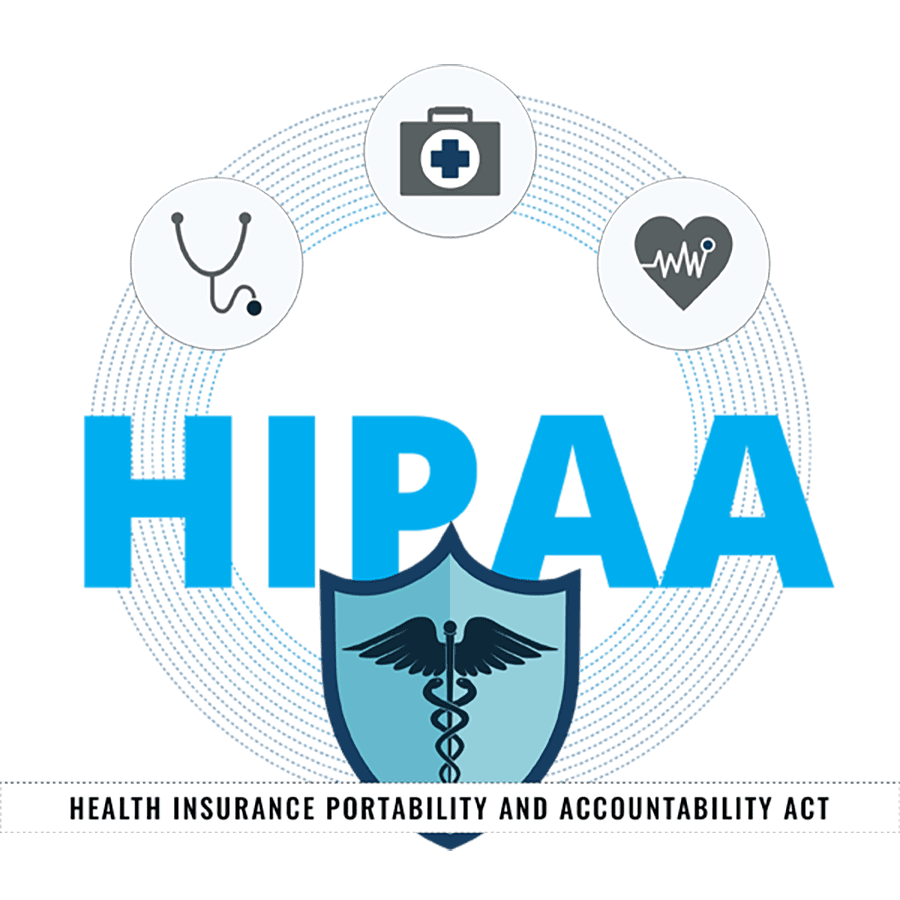 Compliance GPS - HIPAA Graphic With Medical Shield and Hospital Icons