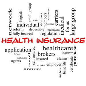 Health Insurance Word Cloud Concept in red caps