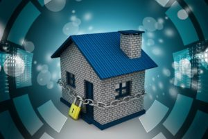 House locked in chain and padlock