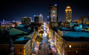 Louisville Kentucky - Aerial View Of Main Street Downtown At Night