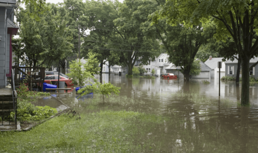 Why you need flood insurance - town flooded
