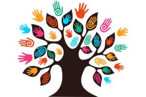 May 2021 Lunch N Learn - Vector Image of Brown Tree With Colorful Hands as the Leaves
